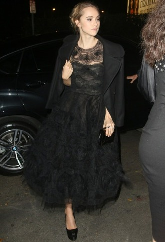 dress gown black dress lace dress suki waterhouse
