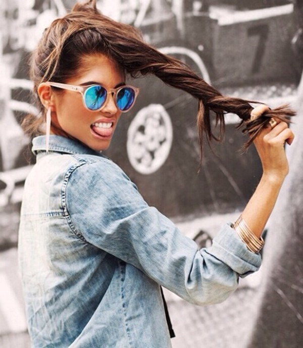 sunglasses blue beige cool mirrorcoating acid wash cute denim coat casual boyfriend blazer blouse bracelets ring errings