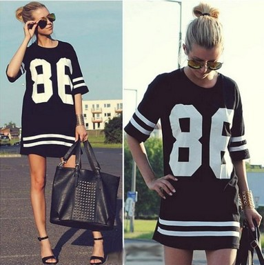 New 2014 Western Street Style Women Oversized 86 American Casual Baseball Tee T Shirt Top Short Sleeve Loose Dress Black, M, XL-in T-Shirts from Apparel & Accessories on Aliexpress.com