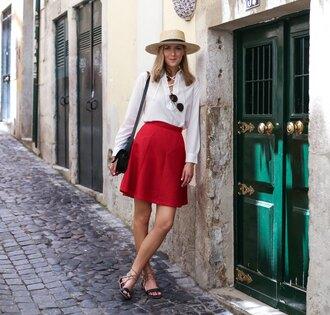 memorandum blogger skirt shirt shoes hat bag sunglasses
