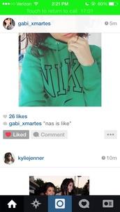 sweater,sweatshirt,hoodie,green,jacket,nike