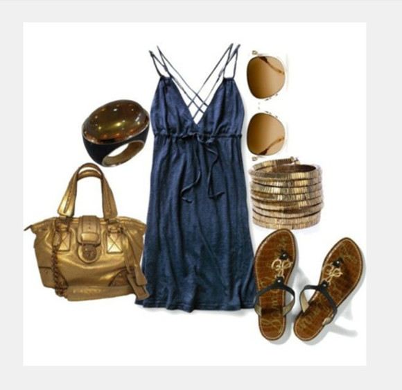 navy dress navy dress clothes bag short dress long shirt spaghetti strap empire waist cross back cotton v neck ring sunglasses bracelet shoes sandals flat sandals purse outfit