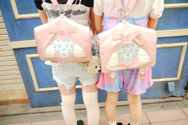 bag backpack heart studs wings pastel goth japanese kids fashion