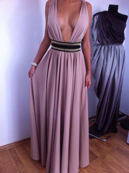 dress evening dress maxi dress blue v neck nude