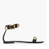 shoes,versace black leather and gold crest ankle strap sandals