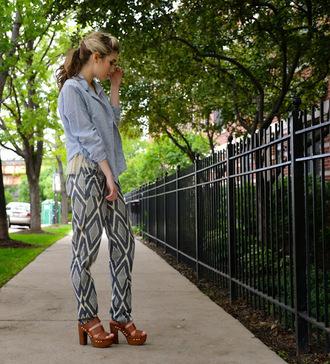 mermaid waves blogger pants printed pants