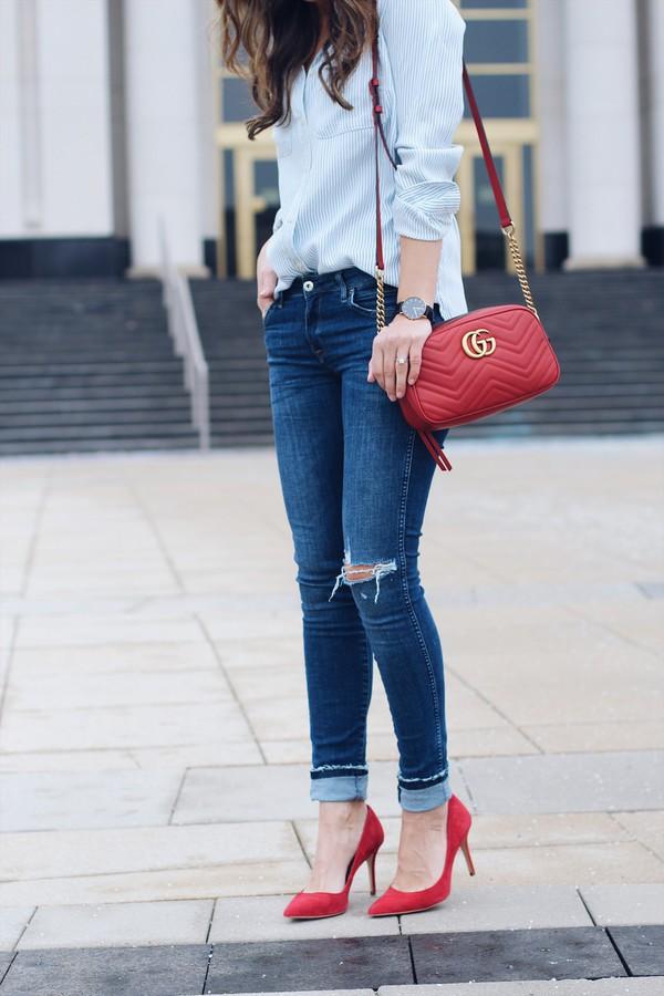 Bag Tumblr Red Bag Gucci Gucci Bag Shirt Blue Shirt