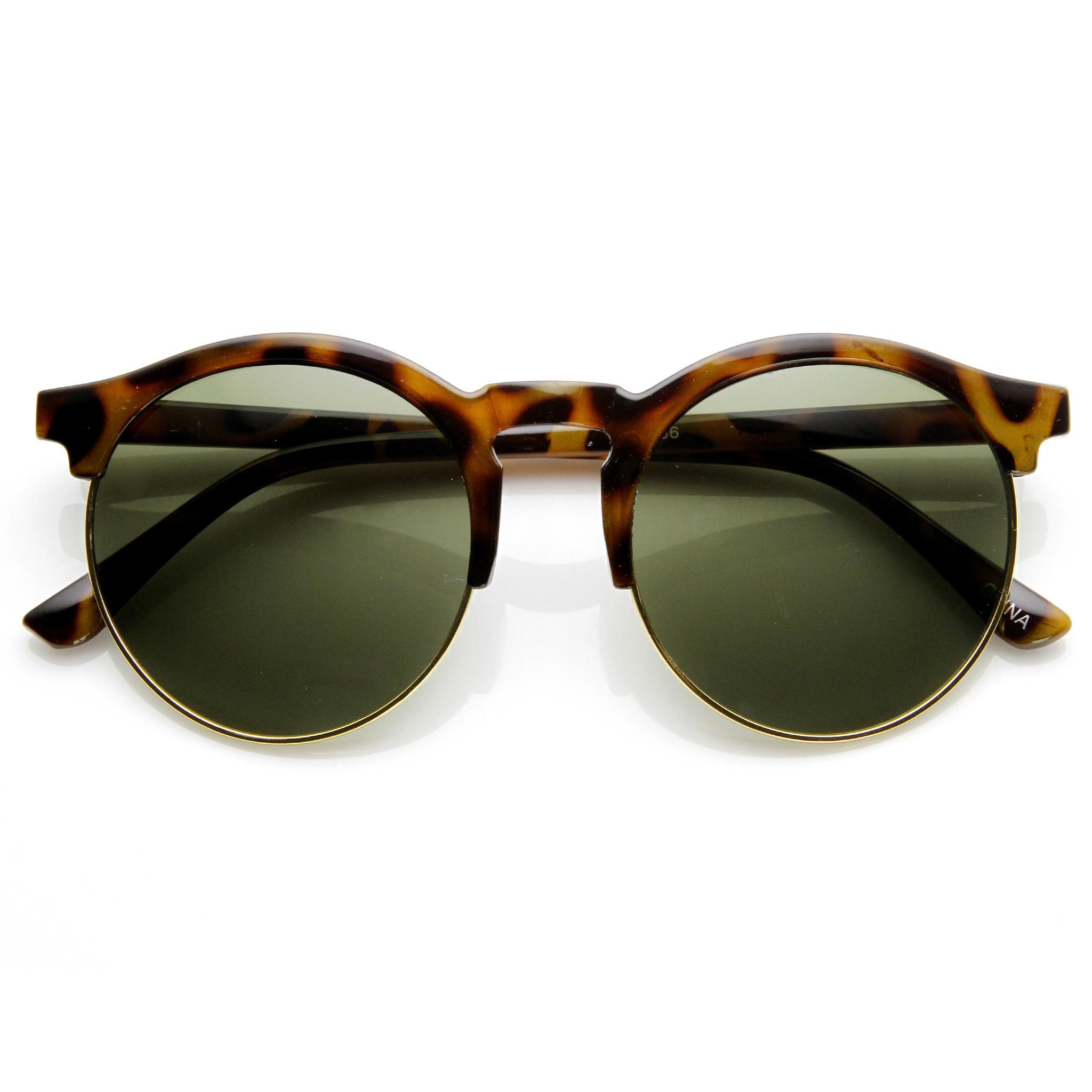 Oversize vintage designer inspired round indie half frame sunglasses 9173