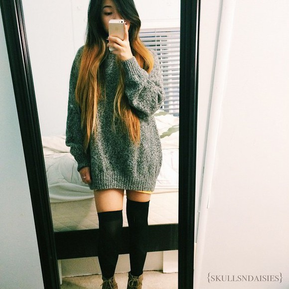 sweater grey dress sweater dress oversized sweater knee high socks
