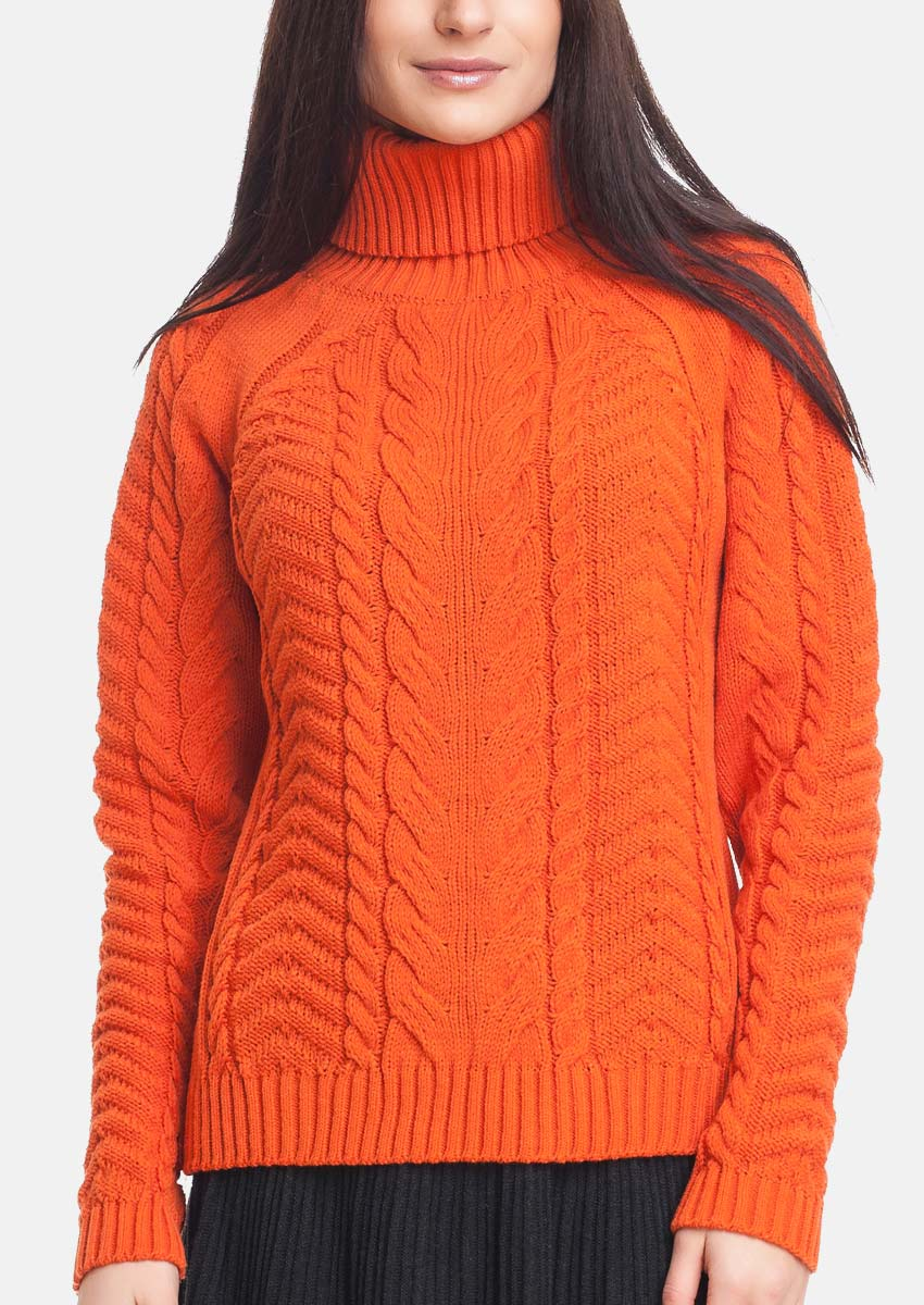 Sweater with high turtleneck — Size: M, S; Color: orange ⋆ RITO ⋆