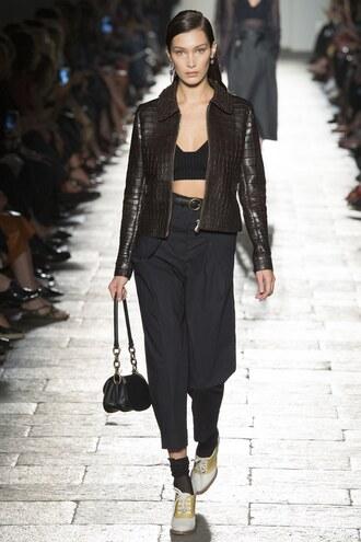 pants bottega veneta jacket bella hadid milan fashion week 2016 purse runway crop tops bralette bra