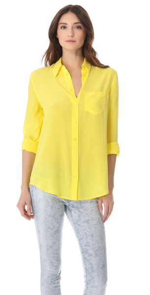 Equipment Reese Button Down Shirt with One Pocket in Yellow (Blazing Yellow) | Lyst