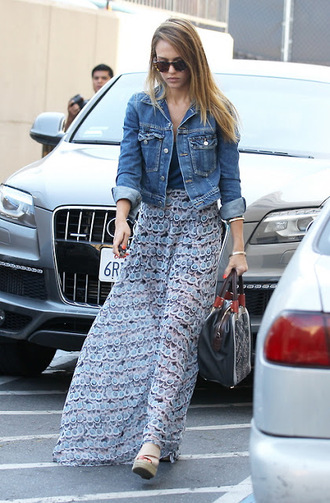 jacket jessica alba denim jacket denim dress skirt maxi skirt wedges