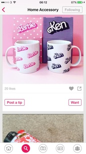 home accessory,pink mug cup,ken,barbie