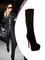 Paris hilton boots black suede round toe red bottom platform stiletto 140 mm high covered heeled knee high boots
