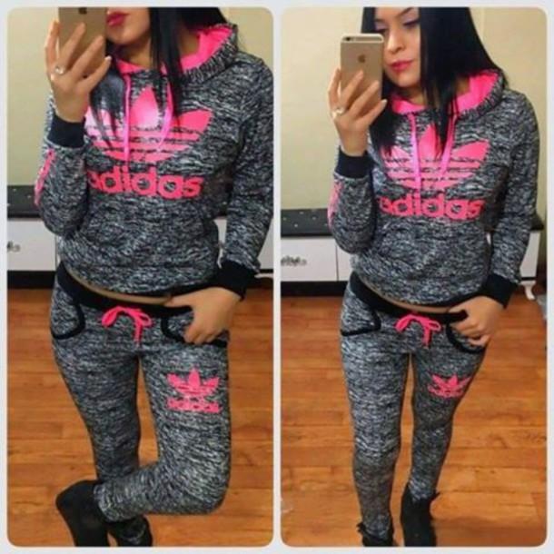 71c2d5cb220 jumpsuit adidas adidas originals adidas hoodie hoodie pants set pink grey tracksuit  adidas tracksuit joggers sportswear