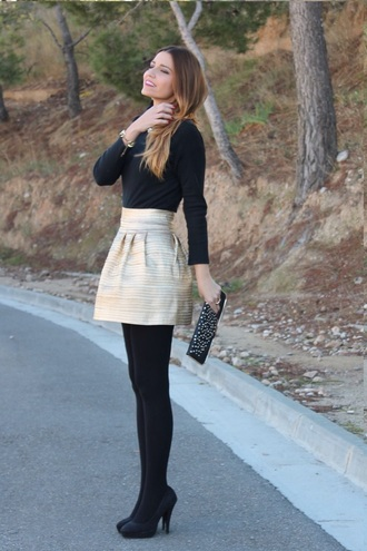 skirt high waisted skirt circle skirt gold sequins gold sabo skirt peplum pleats skater skirt