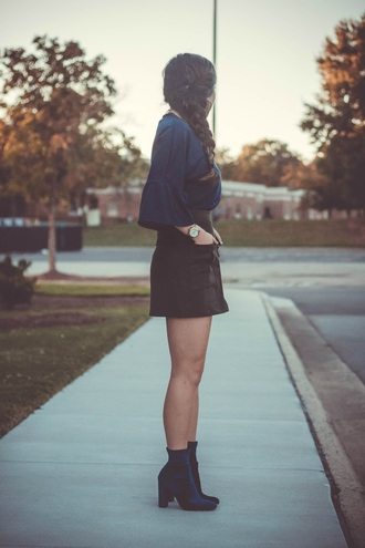 gracefullee made blogger top skirt shoes jewels mini skirt blouse ankle boots