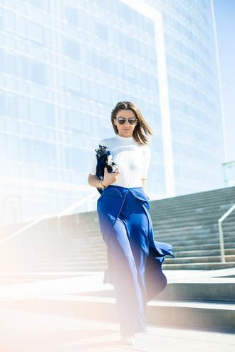 lovely pepa blogger pants top shoes bag sunglasses