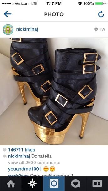 Shoes Nicki Minaj Boots Black Boots Gold Leather Black High