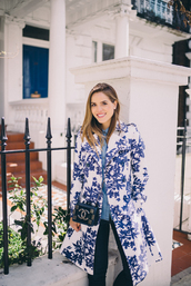 gal meets glam,blogger,floral coat,blue coat,white coat,chanel bag,mini bag,black pants