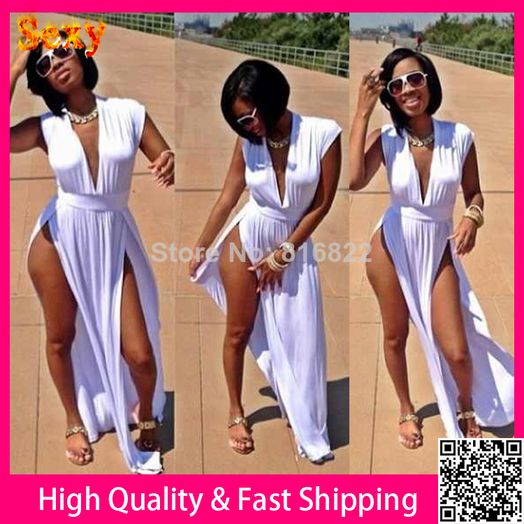 White Deep V Cut Side Sexy Dress 2014 Women Summer Bodycon Long ...