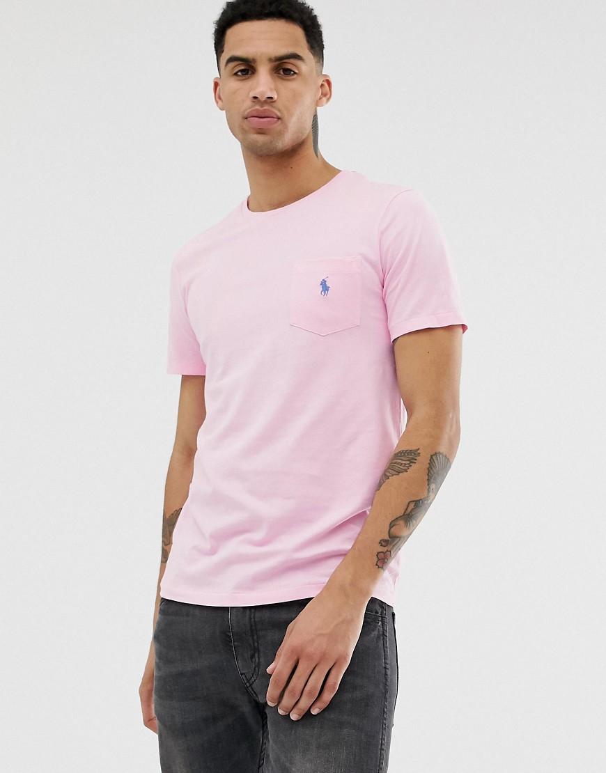 Polo Ralph Lauren player logo pocket t-shirt in pink
