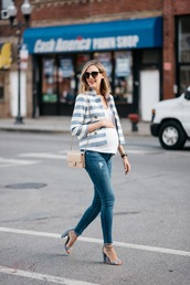 see jane,blogger,jacket,jeans,shoes,top,sunglasses,maternity,t-shirt,white top,striped jacket,blue jeans,skinny jeans,black sunglasses,bag,nude bag,shoulder bag,spring outfits,sandals,grey sandals,high heel sandals,sandal heels