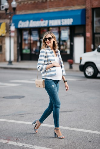see jane blogger jacket jeans shoes top sunglasses maternity t-shirt white top striped jacket blue jeans skinny jeans black sunglasses bag nude bag shoulder bag spring outfits sandals grey sandals high heel sandals sandal heels