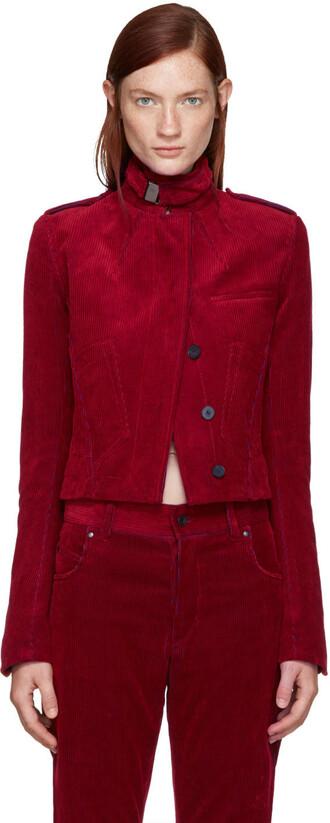 jacket biker jacket red