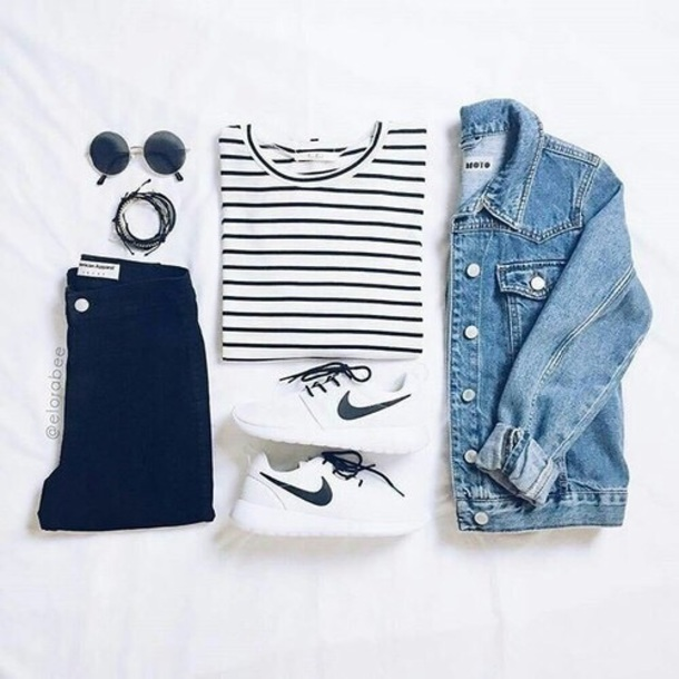 shirt outfit outfit fashion style clothes clothes nike shoes denim teenage style ootd nike nike sneakers denim jacket stripes crop tops jeans black jeans black black and white round sunglasses striped top pants jacket