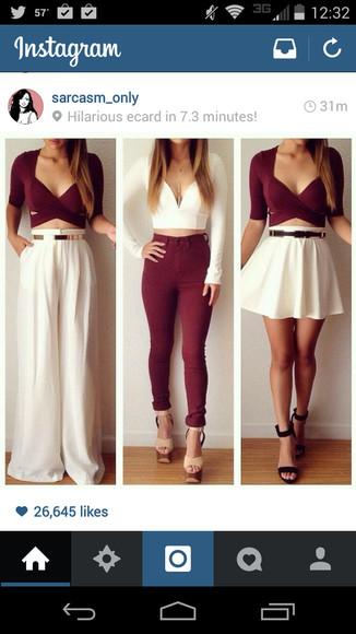 white pants burgundy jeans white skater skirt