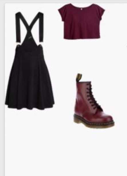 jumpsuit overalls skirt sweater dress combat boots purple crop tops