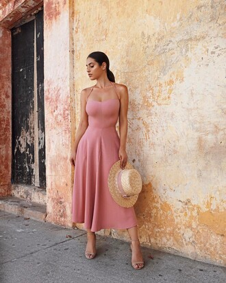 dress summer dress pink dress sun hat tumblr midi dress summer outfits hat straw hat sandals sandal heels high heel sandals nude sandals a line dress