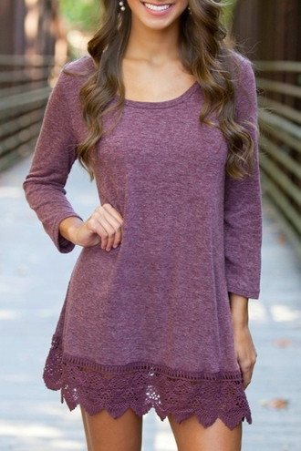 dress trendy purple long sleeves casual 3/4 sleeve lace hem purple dress lace fall outfits cute girly fashion style clothes