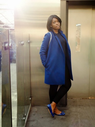 zelda and festus blogger ballet flats blue shoes blue coat