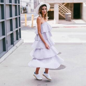 dress tumblr ruffle ruffle dress maxi dress lilac lilac dress sneakers felt hat hat