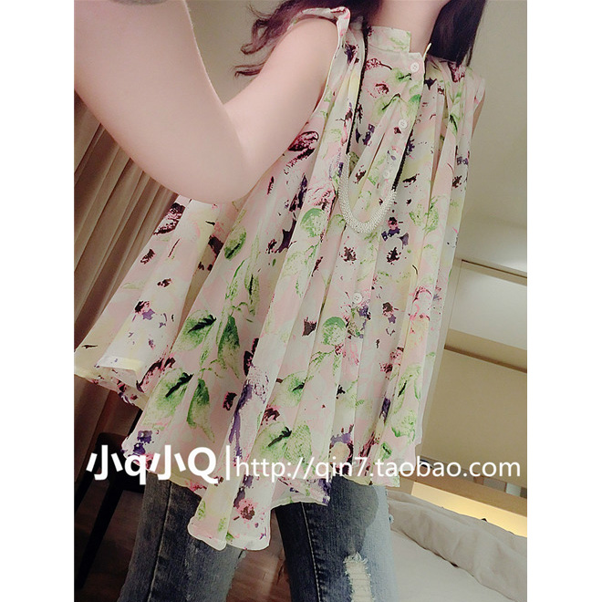 [$16.18] 2014 new Korean place loose collar Joker sleeveless chiffon shirt blouse plus size women's clothes fat summer mm