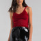 Akira sweetheart v neck thin strap fuzzy crop top in yellow, white, black, red