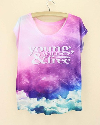 t-shirt pink blue clouds young wild and free purple galaxy print