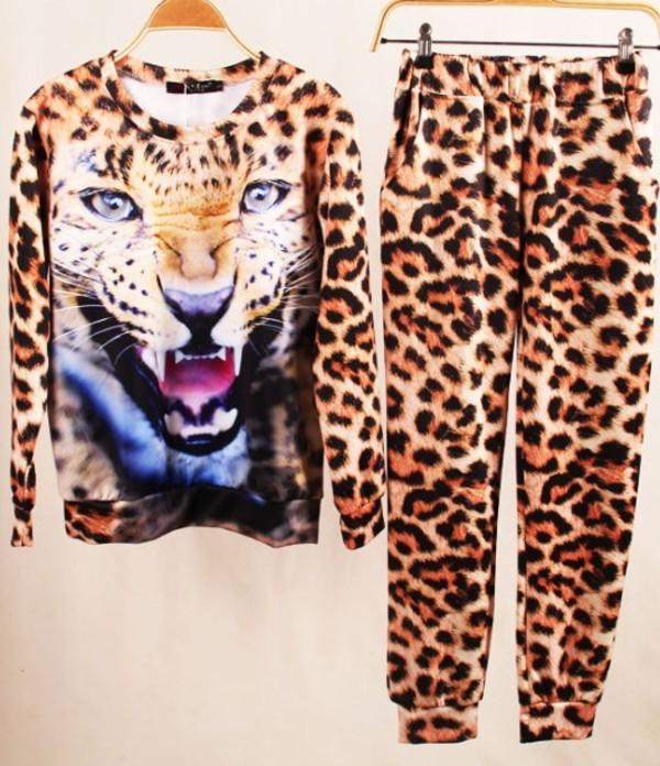 pants suit leopard print leopard print sweatshirt