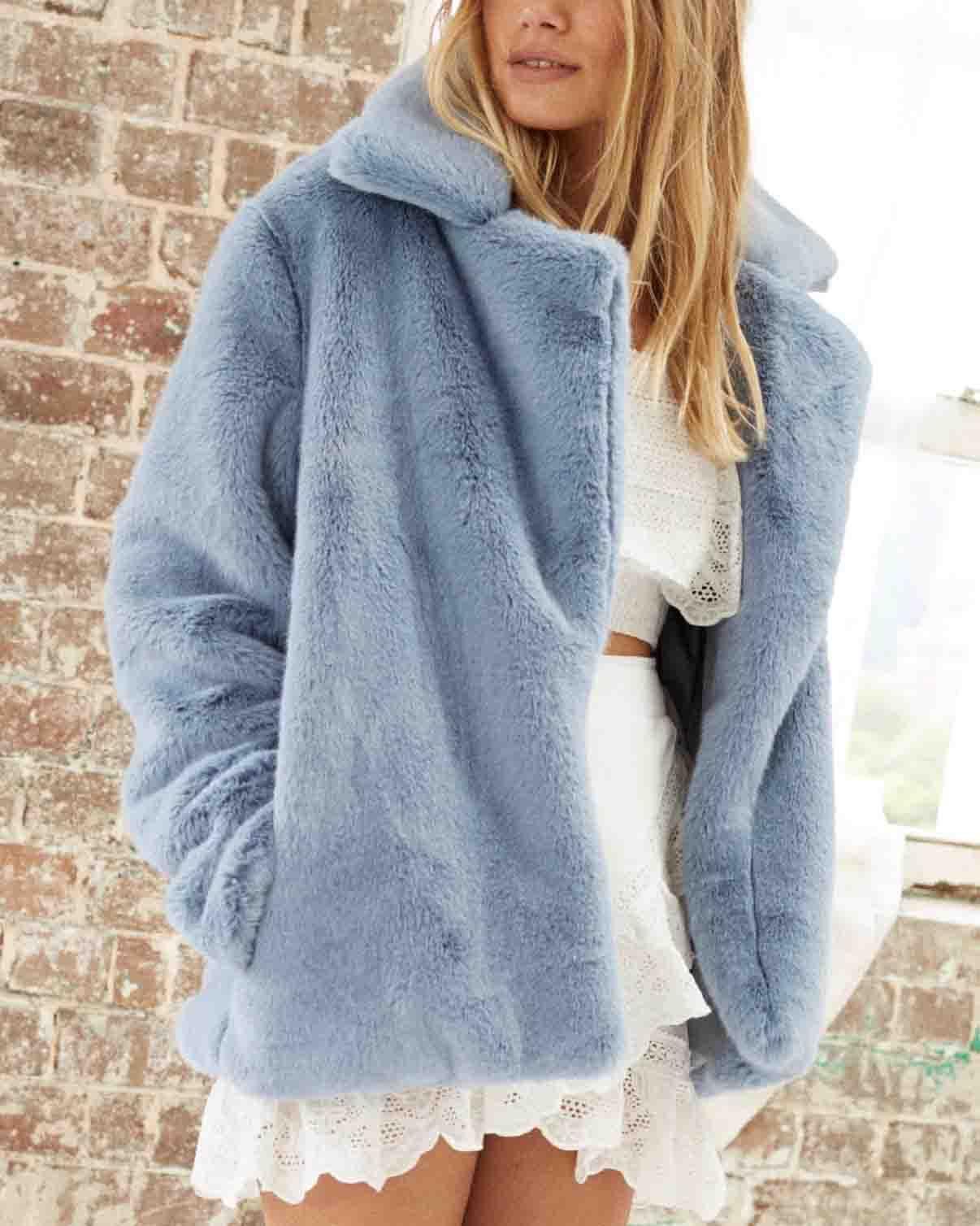 Somedays Lovin - Take It On Soft Faux Fur Jacket - Dusty Blue