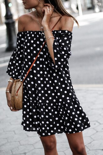 dress tumblr mini dress off the shoulder off the shoulder dress polka dots necklace stacked bracelets stacked jewelry bag round bag jewels