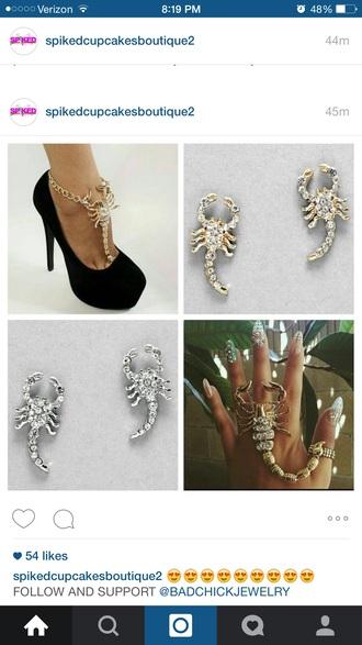 jewels ring bling ankle bracelet earrings