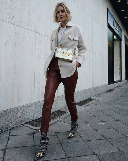 shoes boots mid heel boots booties leather pants high waisted jacket crossbody bag white t-shirt