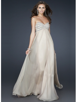 Buy Tempting Ivory A-line Sweetheart Neckline Floor Length Sequins Chiffon Prom Dress under 200-SinoAnt.com