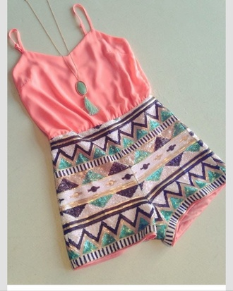 romper aztec jewels necklace blue accessories pink top summer outfits shorts beach blue stone cute adorable outfit t-shirt
