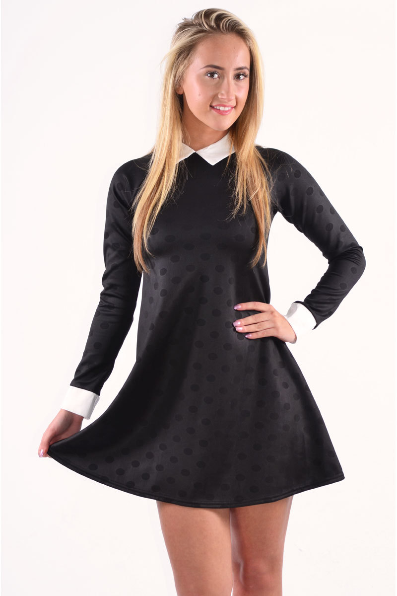 Chava Contrast Collar and Polka Dot Swing Dress