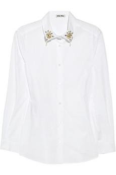 Embellished-collar cotton shirt | Miu Miu | 60% off | THE OUTNET
