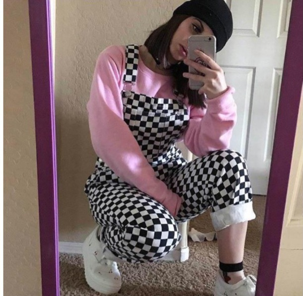 jumpsuit girly black black and white checkered overalls